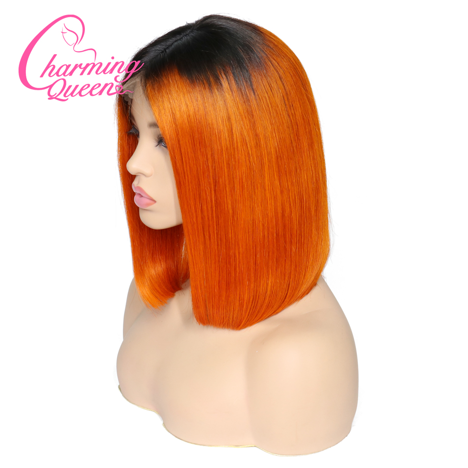 Lace Front Human Hair Wigs Short BOB Hair Ombre Wig 1B Orange for Black Women with