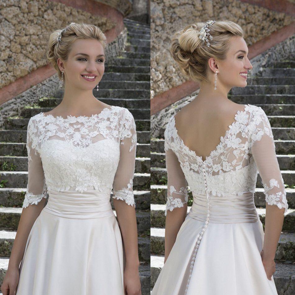 0cc44aa3c04 New Lace Top 3 4 Sleeves V Back Bridal Wedding Lace Applique Jacket White  Ivory