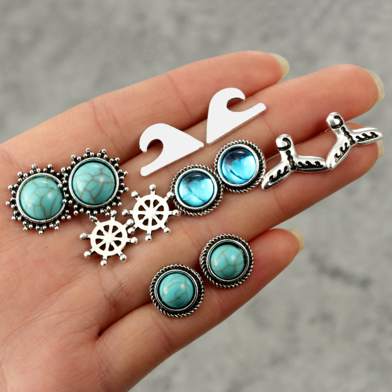 docona Vintage Silver Green Stone Round Studs Earrings for Women Antique Carved Stud Earring Boho Jewelry Brincos 6pair 5651