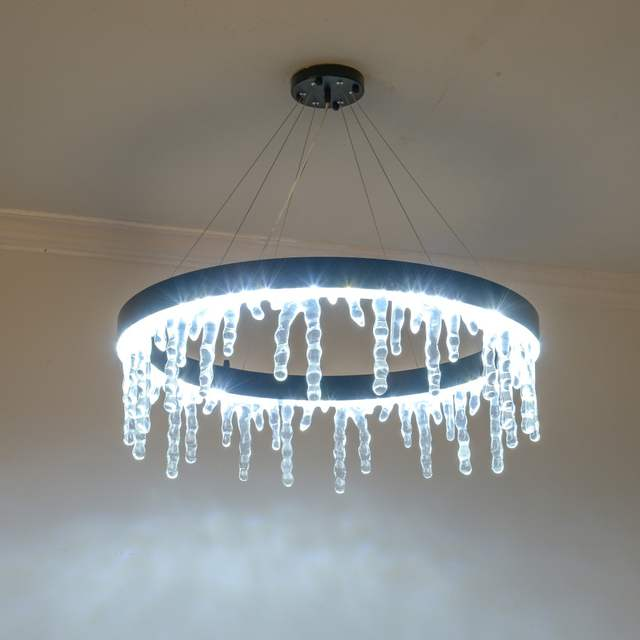 Us 269 78 21 Off Modern Art Light Fixtures Hanging Lamp Black Chandelier Icicle String Lights Led Icicle Lamps For Hotel Living Room Bedroom In