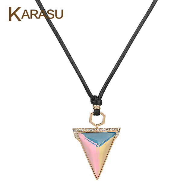 Fashion Triangle Design Colorful Glass Statement Pendant Real Gold Plated Black Rope Chain Long Necklace for Women Jewelry