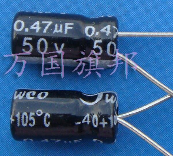 Бесплатная доставка. 105 градусов защиты окружающей среды Алюминиевые Электролитические Конденсаторы 50В 0,47 мкФ (100 юаней/3)