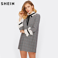 SHEIN Eyelet Embroidered Frill Detail Tie Neck Cute Plaid Dress Black And White Band Collar Long