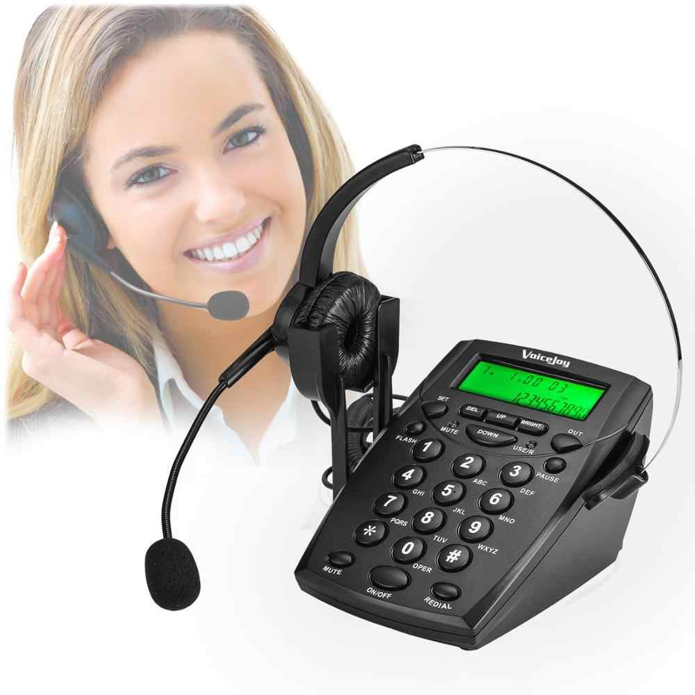 VoiceJoy Headset Telephone Desk Phone Headphones Headset Hands-free Call Center Noise Cancellation Monaural with green Backlight