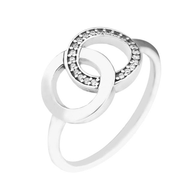 CKK стерлингового серебра 925 круги кольца для женщин Оригинальные  Ювелирные изделия делает Подарок на годовщину свадьбы 8b87165ff71