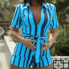 Sexy Women Striped Rompers Sashes Casual Lapel Short Sleeve Belt Plus Size Jumpsuit Bodycon Overalls