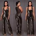 Adogirl Mesh Sequin Patchwork Jumpsuit Women Deep V Neck Sleeveless Back Zipper Wide Leg Playsuits Plus Size Overalls