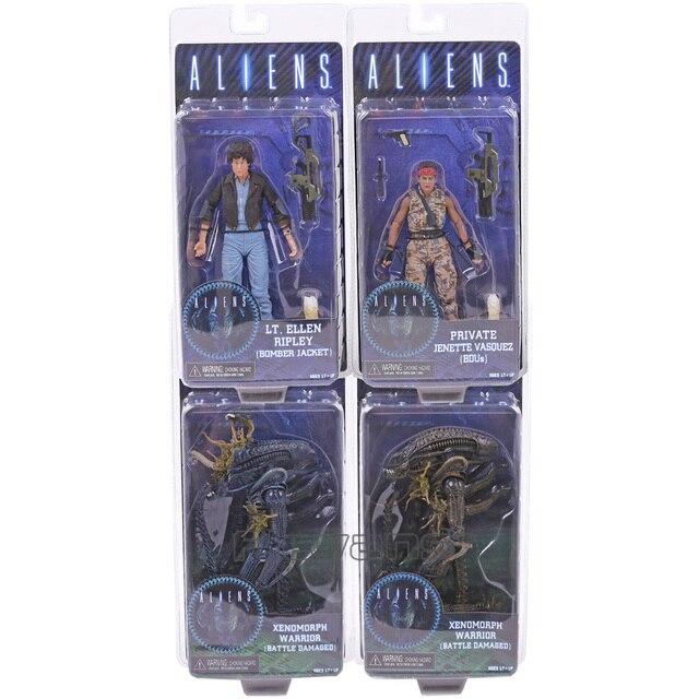 ALIENS NECA LT. Ellen Ripley Privado Jenette Vasquez Xenomorph Guerreiro PVC Action Figure Toy Collectible 4 Estilos