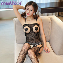 Women Sexy Costumes Halter Open Bust Bodysuit Open Crotch Teddy Hollow Out See Through Erotic Lingerie sex toys for woman blue see through spaghetti bodysuit teddy