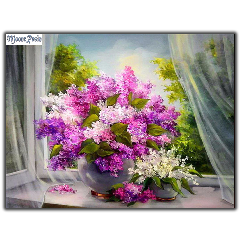 MOONCRESIN Diy Diamond Painting Cross Stitch Lilac Lilac Flower 5D Diamond Embroidery Full Diamond Mosaic Decoration Needlework