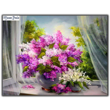 MOONCRESIN Diy Diamond Painting Cross Stitch Lilac Flower 5D Embroidery Full Mosaic Decoration Needlework