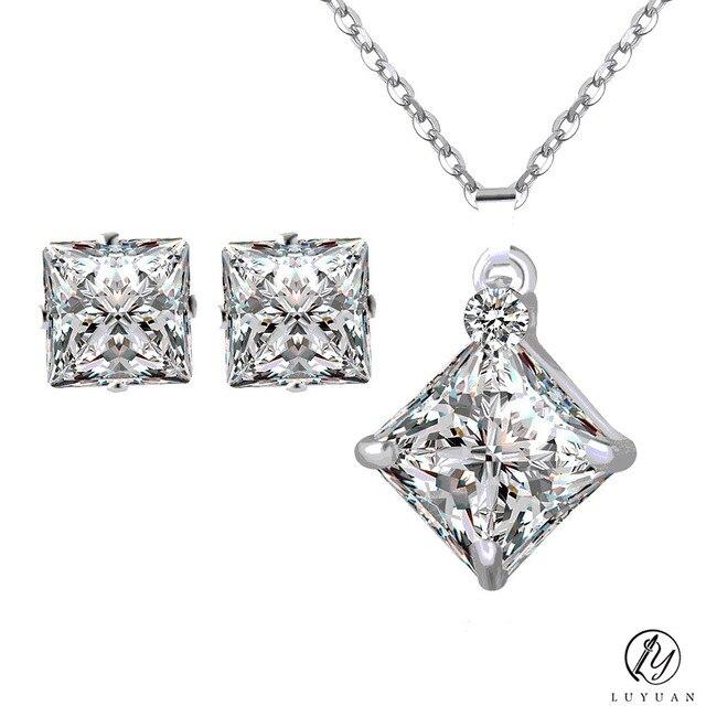 Austrian Crystal Square Big Karat Rhinestone Pendant Silver Color Necklace  Stud Earrings Jewelry Set Women Wedding Girl Party d957342bc58d