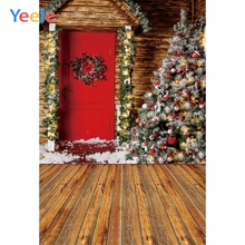 Yeele Professional Photography Backdrops Wood House Red Door Christmas Trees Portrait Photographic Backgrounds For Photo Studio