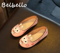 Belbello Baby Girls Shoes Children Loafer Kid Shoes Summer Cute Sweet Bunny Kitty Comfortable Flats Leather
