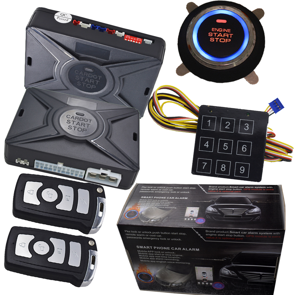 remote engine start pke car alarm system with rfid emergency unlock ignition start stop engine support diesel or petrol car engine start stop button car alarm system remote start engine by detecting fuel pump wire password emergency unlock lock car