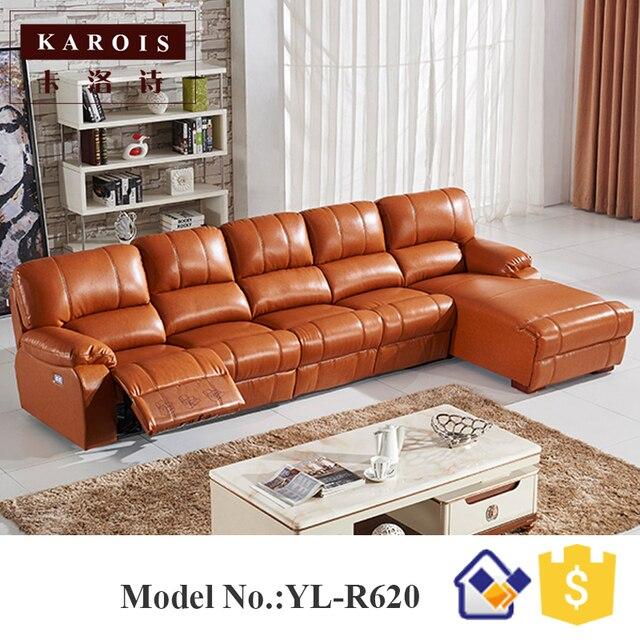 Amarillo Alemania salón sofá de cuero reclinable eléctrico ...