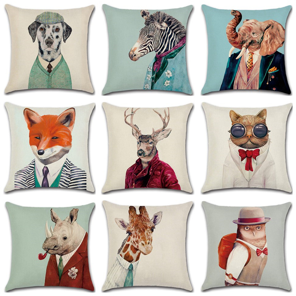 Mr. Zebra Fox Elephant Cat Animals Printed Vintage Cushion 45x45cm Cotton Linen Cushions Home Decor Cat For Car Seat Home Sofa