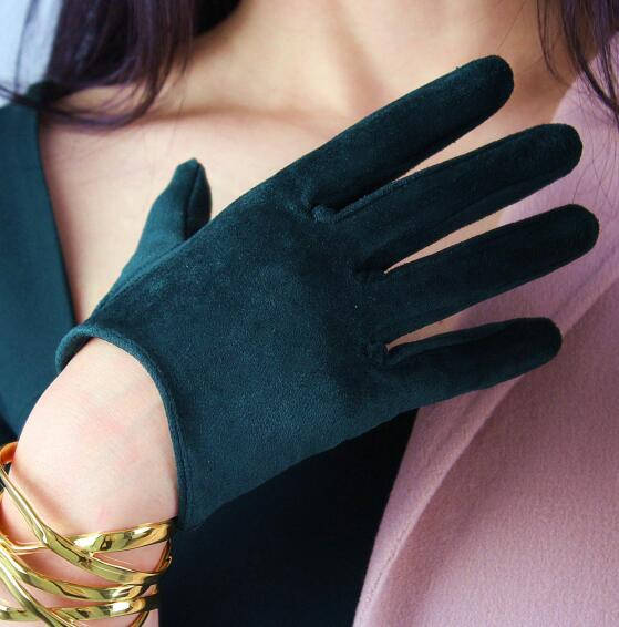 Women's Faux Suede Leather Dark Green Short Gloves Female Sexy Club Party Dress Fashion Driving Glove R1285