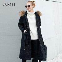 Amii зимнее пуховое пальто Для женщин толстые теплые Парка на пуху большой енота меховой воротник с капюшоном на шнуровке уличная Женская Дли...