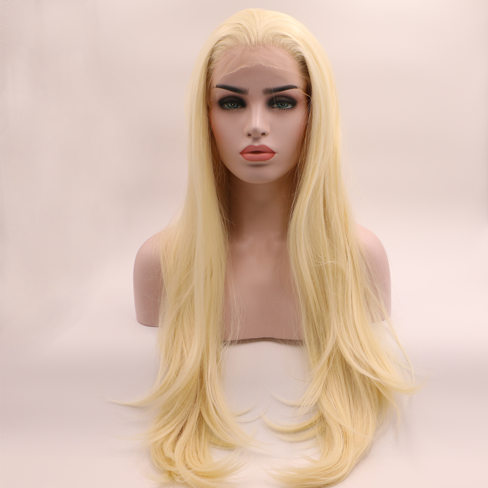 Fantasy Beauty Blonde Wig Long Wave Lace Front Wig With Free Part Synthetic Wig Heat Resistant