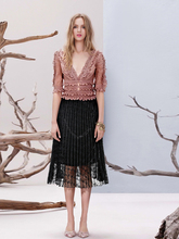 2019 New Summer Women Lace Skirt Hollow Out White Black Pleated Skirts Womens jupe femme