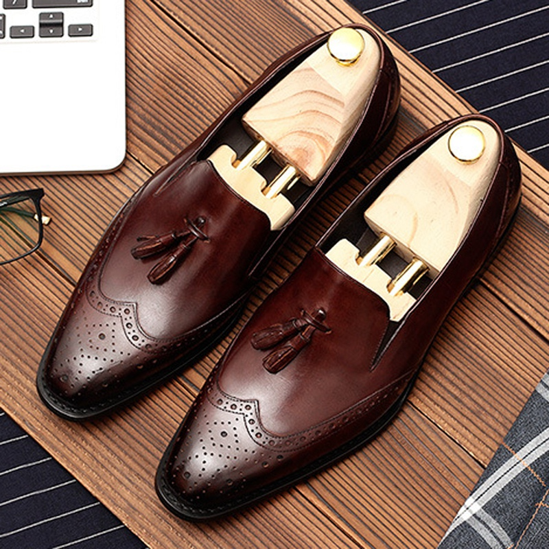 British Designer Pointed Toe Tassels Man Formal Dress Shoes Genuine Leather Slip on Loafers Men's Wingtip Brogue Footwear <font><b>DM120</b></font> image