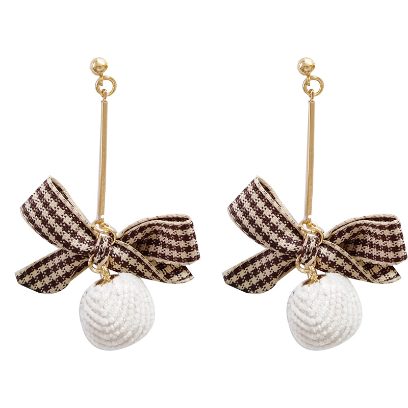 Hot Selling Woman Jewelry Golden Color With Bowknot White Ball Drop Earrings For Gift in Drop Earrings from Jewelry Accessories