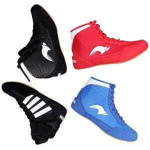 GINGPAI-zapatos de lucha para hombre, zapatillas de boxeo profesionales, zapatos tendones de entrenamiento, calzado deportivo de cuero Artificial, transpirables