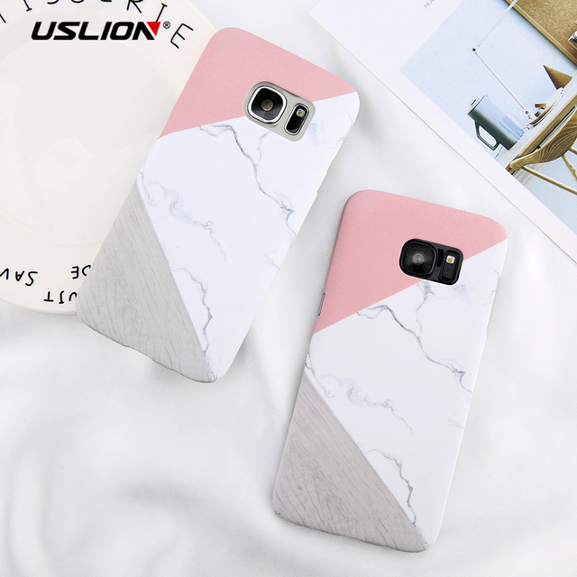 huge selection of 94f8e e98e4 USLION For Samsung Galaxy S9 S8 Plus Note 8 S6 S7 Edge Geometric Splice  Marble Phone Case Stone Pattern Slim Hard PC Cover Cases-in Half-wrapped  Case ...