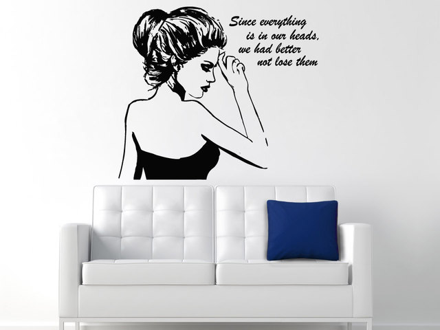 Sexy Beautiful Girl Pattern Wall Decal With Acting Quotes Wall