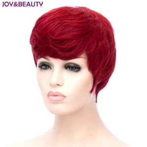 Image 2 - JOY&BEAUTY Heat Resistant Synthetic Hair Short Curly Wig Red Color Women Wigs 20cm