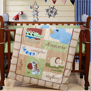 7PCS Embroidery Cartoon Baby Bedding Set Baby cradle cot bedding set cunas ,include(bumper+duvet+sheet+pillow)
