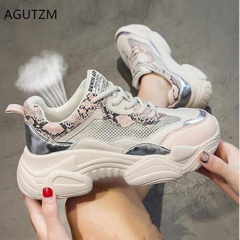 AGUTZM Người Phụ Nữ 2019 Mùa Xuân Mới Nữ Giày Lưới Thoải Mái thoáng khí Nền Tảng Người Phụ Nữ Giày Y532