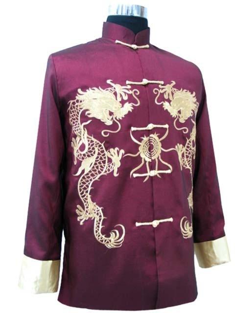 High Fashion Burgundy Men's Satin Jacket Novelty Embroidery Coat Chinese Wu Shu Tang Suit Size S M L XL XXL XXXL M1013