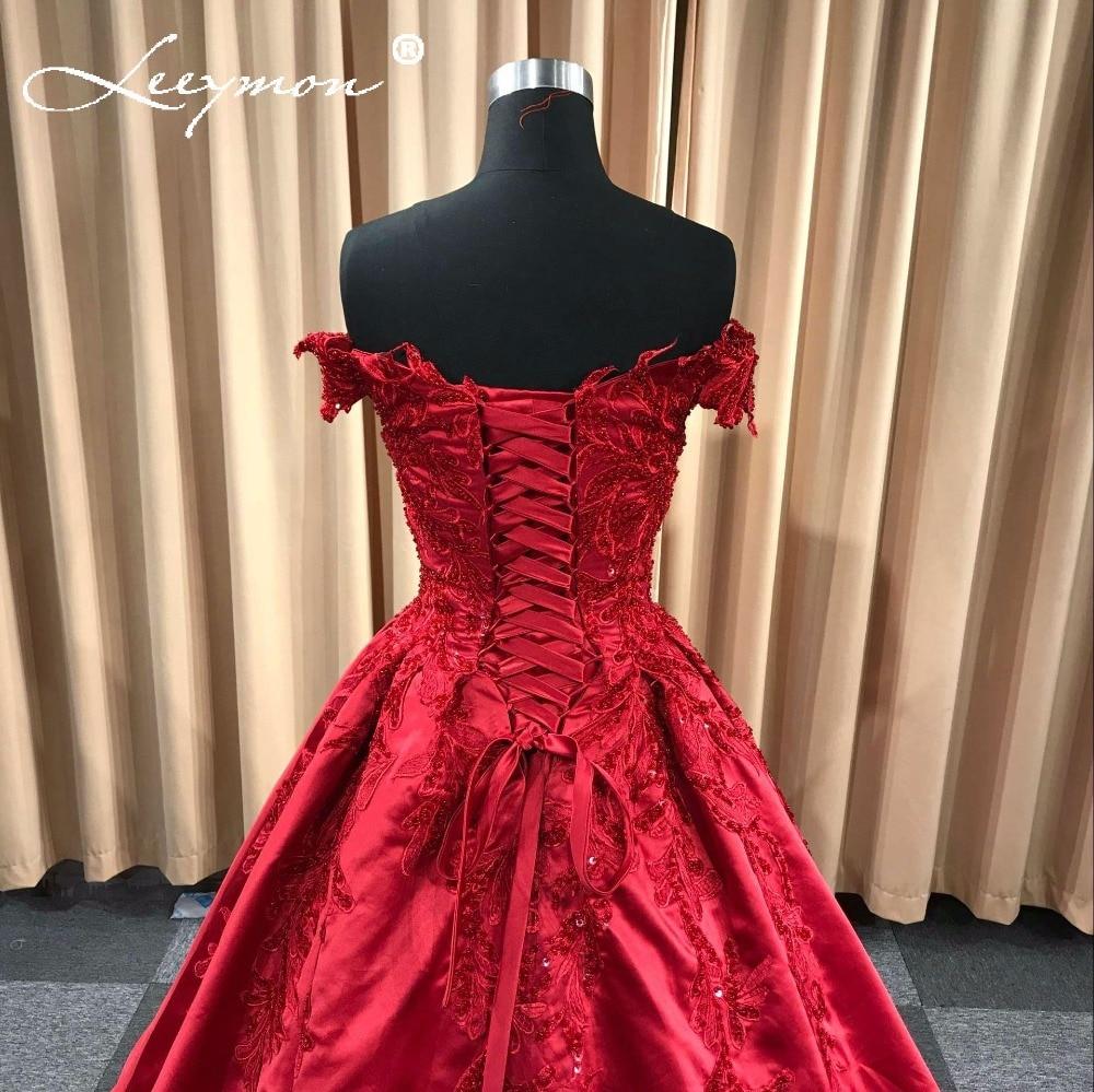 Rode satijnen avondjurk 2018 lange applique kralen vrouwen avond - Jurken voor bijzondere gelegenheden - Foto 5