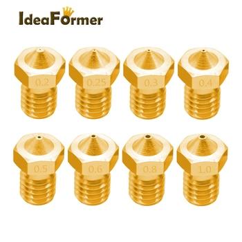 Купи 5 шт латунь сопла fit в V6 нить M6 диаметр Диаметр 0,2-1,0 мм для 1,75mm Filamnet 3D части принтера на алиэкспресс со скидкой