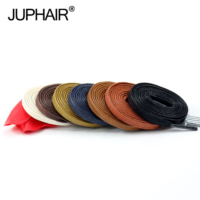 JUP12 Pairs Waxed Cotton Flat Shoelaces Leather Shoes Shoestring