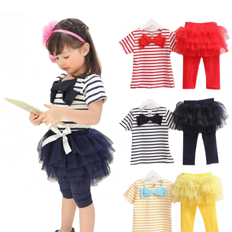 Girls Children Clothing Sets Bow Striped T-shirts Top + Tutu Tulle Skirt Pants Leggings 2PCS Baby Suits Kids Clothes Outfits D35
