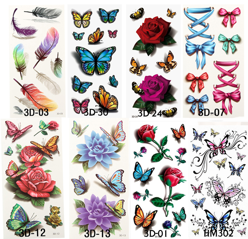 Buy 8pcs 2016 flower waterproof fake for Temporary tattoo sticker