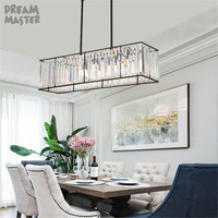 Modern long rectangular dining room island chandelier, crystal decor E27 art lustre chandeliers kitchen lighting, home fixture