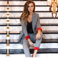 Women's Suits Set Plaid Pant Suits Double Breasted British style Blazer Jacket Straight Pant two Pieces set Office Lady Outfits