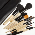 Professional Brand New 12PCS/SET Cosmetics Tool Makeup Brushes Set Toiletry with Black Leather Bag Wood Handle Free Shipping