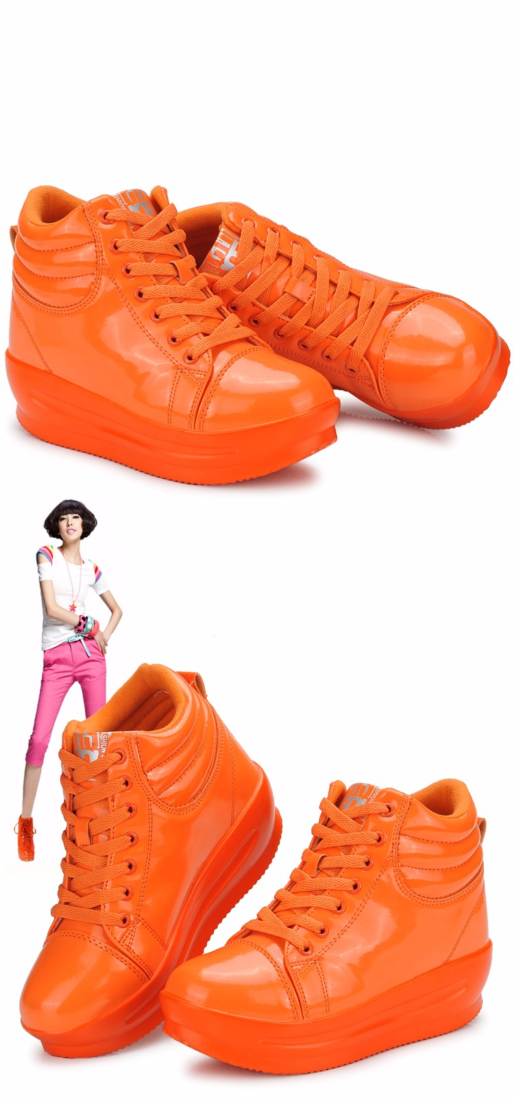 KUYUPP 2016 Fashion Hide Heel Women Casual Shoes Breathable Flat Platform Casual Women Shoes Patent Leather High Top Shoes YD105 (21)