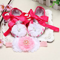Newborn Baby Girl Shoes Brand,Toddler Infant Fabric Baby Booties Headband Set,designer baby girl shoes first walkers