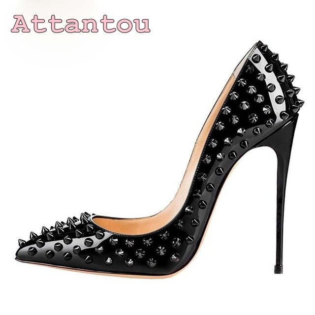 black revet thin heel pumps pointed toe woman shoes high quality ladies dress shoes 12cm 10cm high heel oumos in stock