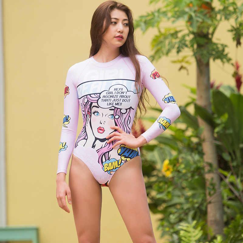 K Berlaku Gadis Ruam Penjaga Baju Renang Surfing Kitesurf Pakaian Renang dengan Lengan Baju Renang Wanita Mungkin Pantai Bubble Animal