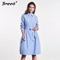 SIMPVALE Çizgili Toplayın Bel Gömlek Tarzı Elbise Kadın Gevşek Temel A-Line Elbise Vogue Lady Mavi Çizgili Diz Boyu Elbise