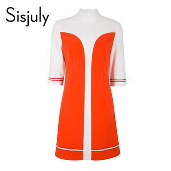 цена Sisjuly women dresses a line 60s vintage autumn turtneck color block designer dress elegant female winter vintage dresses girl онлайн в 2017 году