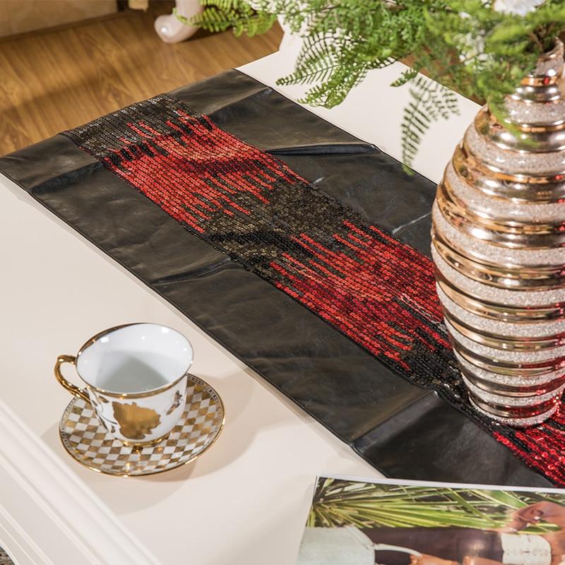 Sequins Stickching Upscale Mesdhetare Tabela e tryezës Dekori modern - Tekstil për shtëpi - Foto 3