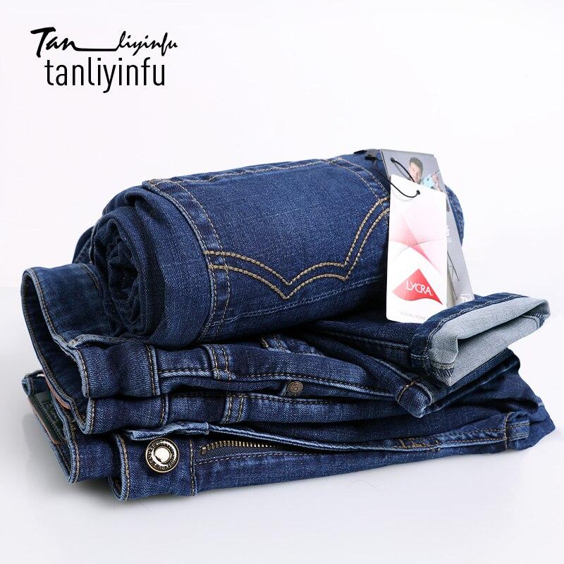 ФОТО Tanliyinfu high-quality blue Denim jeans men,Premium Performance Slim Straight Embroidery decoration Lycra Men's pants,11 ounces